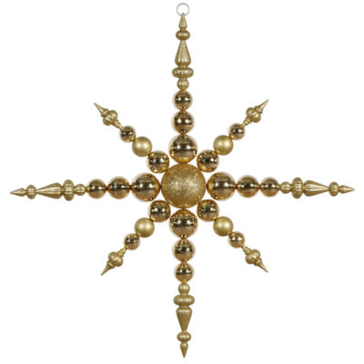 "43"" Gold Commercial Sized Shatterproof Radical Snowflake Christmas Ornament"""
