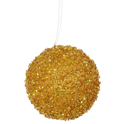"4ct Antique Gold Sequin and Glitter Drenched Christmas Ball Ornaments 4"" (100mm)"""