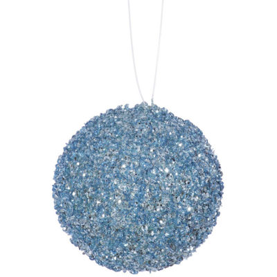 """4ct Baby Blue Sequin and Glitter Drenched Christmas Ball Ornaments 4"""" (100mm)"""""""