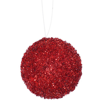 "4ct Berry Red Sequin and Glitter Drenched Christmas Ball Ornaments 4"" (100mm)"""
