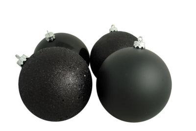"4ct Black Shatterproof 4-Finish Christmas Ball Ornaments 8"" (200mm)"""