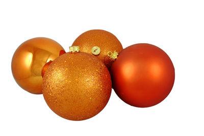 "4ct Burnt Orange Shatterproof 4-Finish Christmas Ball Ornaments 6"" (150mm)"