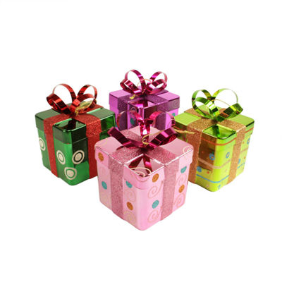 4ct Candy Fantasy Gift Box Shatterproof Christmas Ornaments 6""