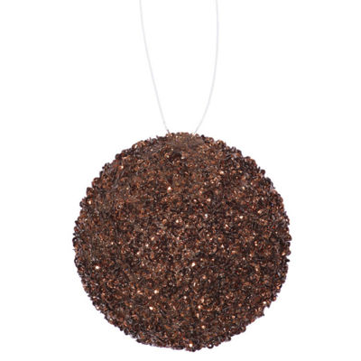 "4ct Chocolate Brown Sequin and Glitter Drenched Christmas Ball Ornaments 4"" (100mm)"""