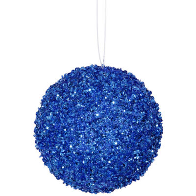 "4ct Cobalt Blue Sequin and Glitter Drenched Christmas Ball Ornaments 4"" (100mm)"""