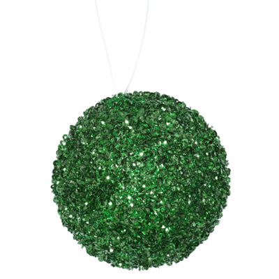 "4ct Emerald Green Sequin and Glitter Drenched Christmas Ball Ornaments 4"" (100mm)"""