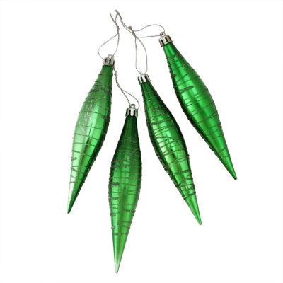 "4ct Glittered Emerald Green Shatterproof Finial Drop Christmas Ornaments 6"""