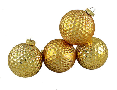 "4ct Gold Prism Textured Shatterproof Christmas Ball Ornaments 2.75"" (70mm)"""