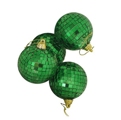 "4ct Green Mirrored Glass Disco Ball Christmas Ornaments 4"" (100mm)"""