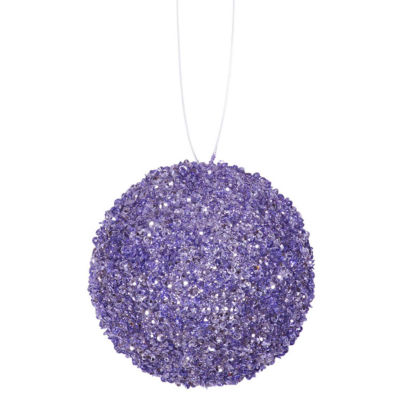 "4ct Lavender Purple Sequin and Glitter Drenched Christmas Ball Ornaments 4"" (100mm)"