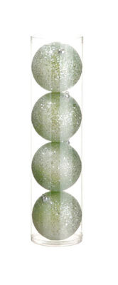 "4ct Light Green Glittered Shatterproof Christmas Ball Ornaments 3"" (75mm)"""