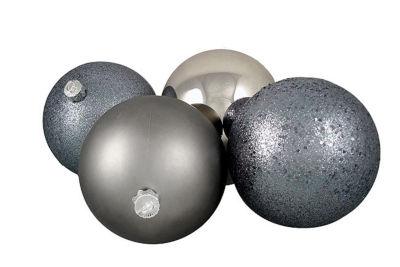 "4ct Light Gunmetal Gray Shatterproof 4-Finish Christmas Ball Ornaments 6"" (150mm)"""