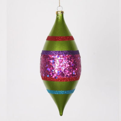 """4ct Lime Green and Cerise Pink Shatterproof Christmas Glitter Finial Drop Ornaments 7"""""""