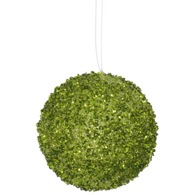 """4ct Lime Green Sequin and Glitter Drenched Christmas Ball Ornaments 4"""" (100mm)"""""""