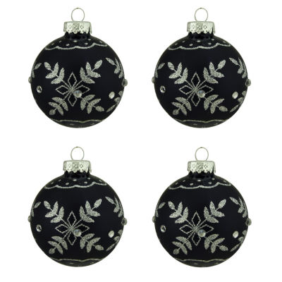 """4ct Matte Black with Silver Snowflake Design GlassBall Christmas Ornaments 2.5"""" (65mm)"""""""