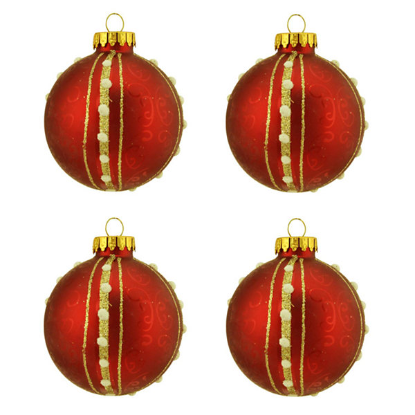 "4ct Matte Red with Swirls & Gold Striped Design Glass Ball Christmas Ornaments 2.5"" (65mm)"""