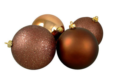 "4ct Mocha Brown Shatterproof 4-Finish Christmas Ball Ornaments 6"" (150mm)"""