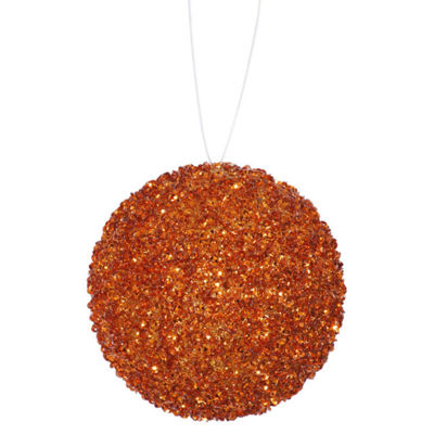 "4ct Orange Sequin and Glitter Drenched Christmas Ball Ornaments 4"" (100mm)"""