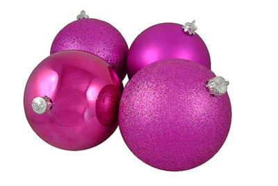 "4ct Pink Magenta Shatterproof 4-Finish Christmas Ball Ornaments 6"" (150mm)"""