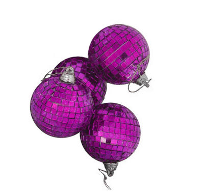 "4ct Purple Mirrored Glass Disco Ball Christmas Ornaments 4"" (100mm)"""