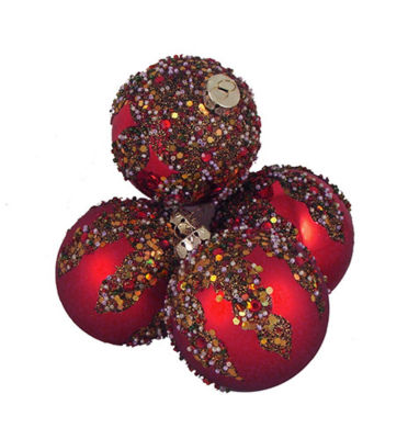 """4ct Red Glitter Sequin Beaded Shatterproof Christmas Ball Ornaments 3.25"""" (80mm)"""""""