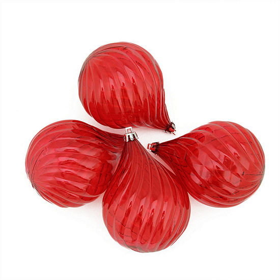 4ct Red Hot Transparent Finial Drop Shatterproof Christmas Ornaments 45
