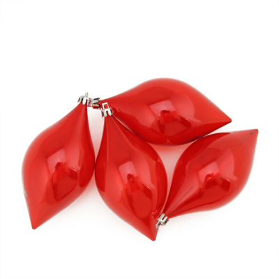"4ct Red Hot Transparent Teardrop Shatterproof Christmas Finial Ornaments 5.25"" (130mm)"""