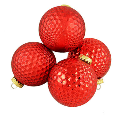 "4ct Red Prism Textured Shatterproof Christmas BallOrnaments 2.75"" (70mm)"""