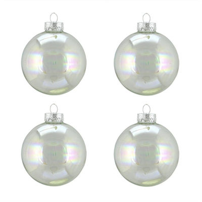 "4ct Shiny Clear Iridescent Glass Ball Christmas Ornaments 2.5"" (65mm)"