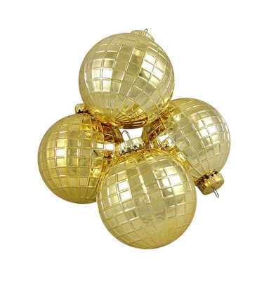 "4ct Shiny Gold Disco Ball Shatterproof Christmas Ball Ornaments 2.75"" (70mm)"""