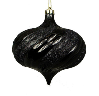 "4ct Shiny Jet Black Glitter Swirl Shatterproof Onion Christmas Ornaments 5.75"""