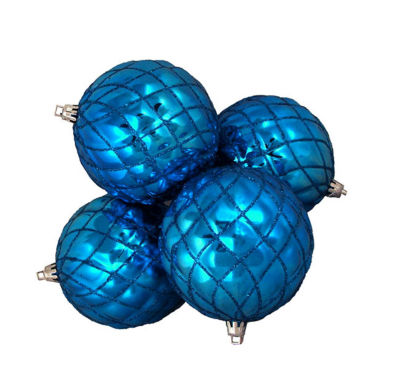 4ct Shiny Lavish Blue Diamond Design ShatterproofChristmas Ball Ornaments 3.75""