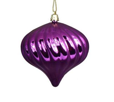 "4ct Shiny Purple Swirl Shatterproof Onion Christmas Ornaments 4"""