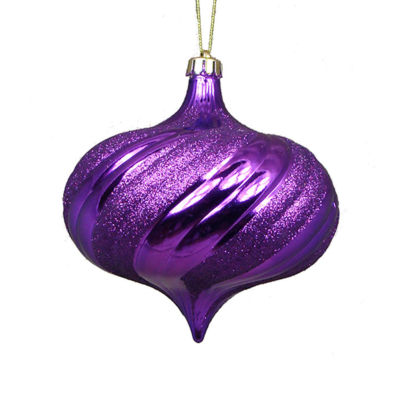 "4ct Shiny Purple Swirl Shatterproof Onion Christmas Ornaments 5.75"""
