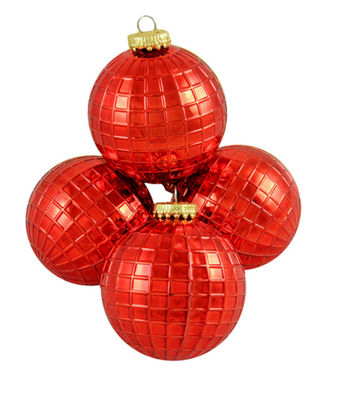 "4ct Shiny Red Disco Ball Shatterproof Christmas Ball Ornaments 2.75"" (70mm)"""