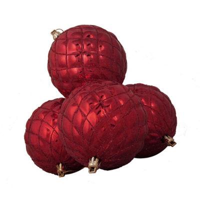 "4ct Shiny Red Hot Diamond Design Shatterproof Christmas Ball Ornaments 3.75"""