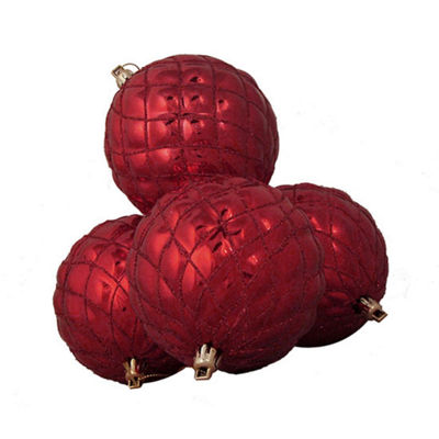 4ct Shiny Red Hot Diamond Design Shatterproof Christmas Ball Ornaments 3.75""