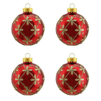 """4ct Shiny Red with Gold Flower Design Glass Ball Christmas Ornaments 2.5"""" (65mm)"""""""