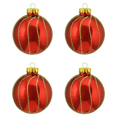 "4ct Shiny Red with Gold Striped Design Glass BallChristmas Ornaments 2.5"" (65mm)"""