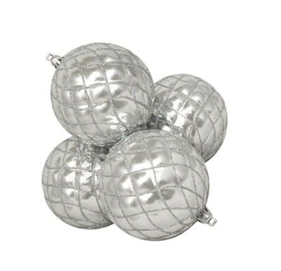 4ct Shiny Silver Splendor Diamond Shatterproof Christmas Ball Ornaments 3.75""