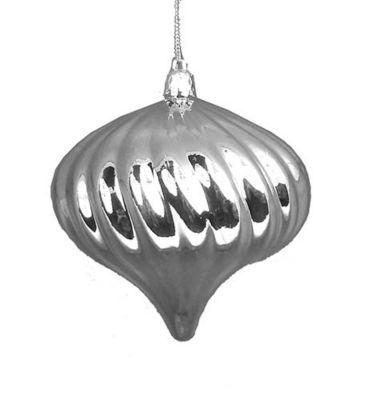 "4ct Shiny Silver Splendor Swirl Shatterproof OnionChristmas Ornaments 4"""