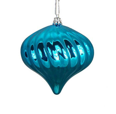 4ct Shiny Turquoise Blue Swirl Shatterproof Onion Christmas Ornaments 4""