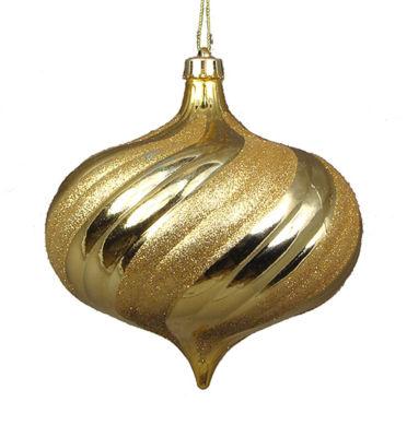 """4ct Shiny Vegas Gold Glitter Swirl Shatterproof Onion Christmas Ornaments 5.75"""""""