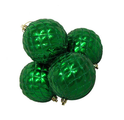 4ct Shiny Christmas Green Diamond Design Shatterproof Christmas Ball Ornaments 3.75""