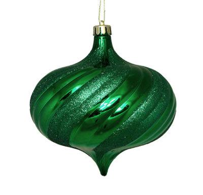 "4ct Shiny Christmas Green Glitter Swirl Shatterproof Onion Christmas Ornaments 5.75"""