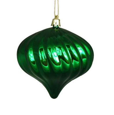 4ct Shiny Christmas Green Swirl Shatterproof OnionChristmas Ornaments 4""