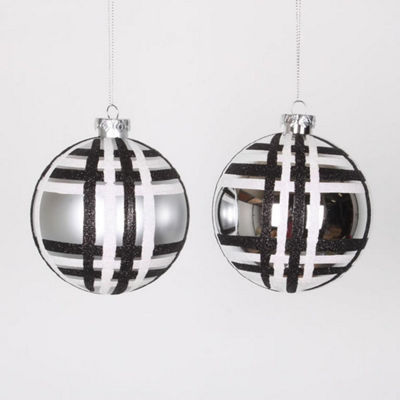 "4ct Silver w/ Black & White Glitter Plaid Shatterproof Christmas Ball Ornaments 4"" (100mm)"""