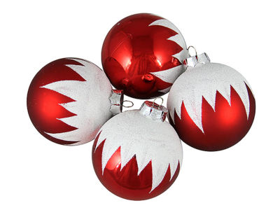 "4ct Snow-capped Red Shatterproof Christmas Ball Ornaments 3"" (75mm)"""