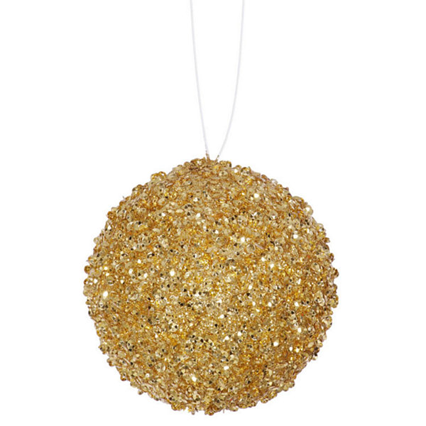 "4ct Sparkling Gold Sequin and Glitter Drenched Christmas Ball Ornaments 4"" (100mm)"""