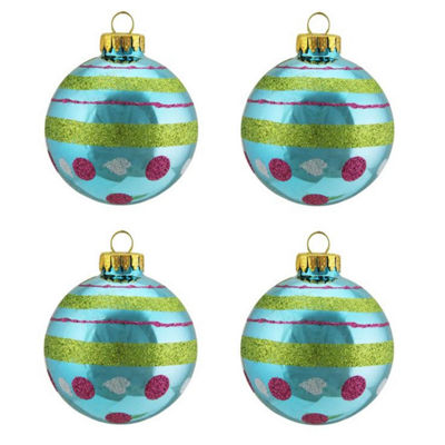 "4ct Teal Blue with Glitter Polka Dot & Stripe Design Glass Ball Christmas Ornaments 2.5"" (65mm)"